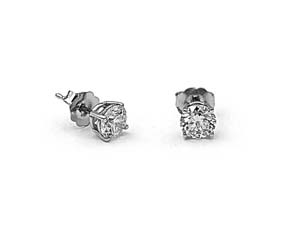 Alson Signature Collection 14K White Gold Diamond Stud Earrings, Featuring 2 Round Diamonds =1.02ctw, H Color, SI2 Clarity