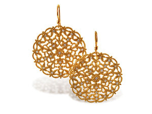 Alson Signature Collection Round Floral Motif Euro Wire Earrings, Fashioned in 14K Yellow Gold, Featuring Round Diamonds =.52cts Total Weight