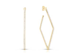 Roberto Coin 18K Yellow Gold Square Hoop Earrings, Featuring Diamonds =1.85ctw