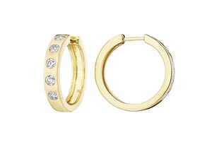 Penny Preville 18K Yellow Gold Burnished Diamond Hoop Earrings