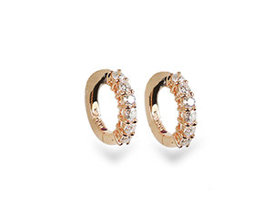 Roberto Coin 18K Rose Gold 15MM Diamond Huggie Hoops, Featuring Twelve Round Diamonds =.70cts Total Weight
