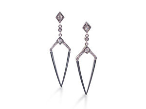 Penny Preville Stiletto Deco Earring, Fashioned in 18K White Gold, Featuring Thirty-Four Round Diamonds =.63cts Total Weight