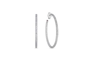 Roberto Coin 35MM Inside/Outside Diamond Hoops, Fashioned in 18K White Gold, Featuring 114 Round Diamonds =1.10cts Total Weight