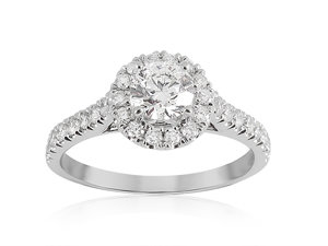 Alson Signature Collection 14K White Gold Diamond Halo Engagement Ring, Featuring a .51 Carat Round Diamond, H Color, I1 Clarity, Accented with 30 Round Diamonds =.49cts Total Weight