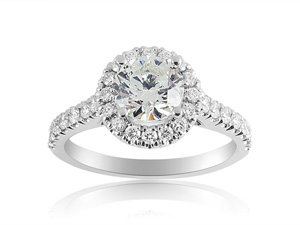 Alson Signature Collection 14K White Gold Diamond Halo Engagement Ring, Featuring a .95 Carat Round Diamond, H Color, I1 Clarity, Accented with 30 Round Diamonds =.55cts Total Weight