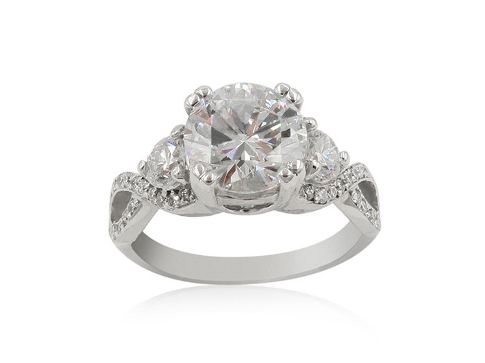 Alson Signature Collection 14K White Gold Diamond Swirl Design Engagement Ring, Featuring a 1.74 Carat Round Diamond, SI1 Clarity, I Color, GIA Certified, Accented with 2 Round Diamonds =.30cts Total Weight and 44 Round Diamonds =.25cts Total Weight