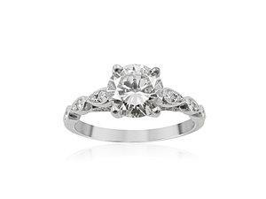 Alson Signature Collection 14K White Gold Engagement Ring, Featuring a 1.08 Carat Round Diamond, K Color, VS2 Clarity, Accented with 44 Round Diamonds =.23cts Total Weight