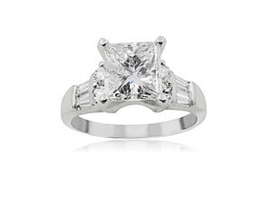 Alson Signature Collection Platinum Engagement Ring, Featuring a 1.43 Carat Princess Cut Diamond, H Color, SI1 Clarity, Accented with 4 Tapered Baguette Diamonds and 4 Round Diamonds =.50cts Total Weight