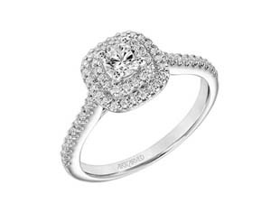 ArtCarved 14K White Gold Double Cushion Halo Engagement Ring, Featuring a .25 Carat Round Diamond, H-I Color, SI2 Clarity, Accented with 60 Round Diamonds =.28CTW