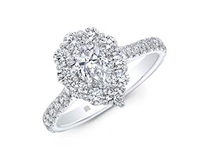 Alson Signature Collection 18K White Gold Halo Engagement Ring, Featuring a .51ct Pear Shaped Diamond, E Color, SI1 Clarity, GIA Certified, Accented with 10 Round Diamonds =.61ctw in the Halo and 20 Round Diamonds =.27ctw in the Shank, E-F Color, VS-SI Clarity