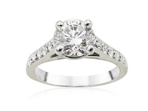 Alson Signature Collection Platinum Engagement Ring, Featuring a 1.09ct Round Diamond, I Color, VS2 Clarity, Accented with 12 Round Diamonds =.24ctw