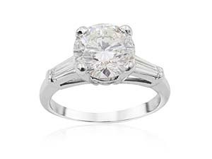 Alson Signature Collection Platinum Engagement Ring, Featuring a 1.78ct Round Diamond, I Color, I1 Clarity, Accented with 2 Tapered Baguette Diamonds =.30ctw