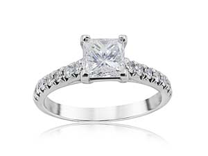 Alson Signature Collection 18K White Gold & Platinum Engagement Ring, Featuring a .73ct Princess Cut Diamond, F Color, VS1 Clarity, GIA Certified, Accented with 14 Round Diamonds =.30ctw