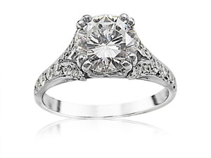 Alson Signature Collection Platinum Split Shank Engagement Ring, Featuring a 1.28ct Round Diamond, D Color, VS2 Clarity, GIA Certified, Accented with 42 Round Diamonds =.54ctw