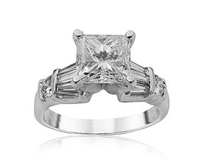 Alson Signature Collection Platinum Engagement Ring, Featuring a 1.50ct Princess Cut Diamond, F Color, SI2 Clarity, GIA Certified, Accented with 6 Tapered Baguette Diamonds =.20ctw and 2 Round Diamonds =.20ctw