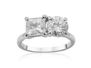 Alson Signature Collection 19K White Gold Two-Stone Engagement Ring, Featuring a 1.07ct Princess Cut Diamond, H Color, SI2 Clarity and a .98ct Round Diamond, I Color, SI1 Clarity