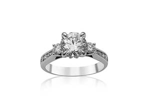 Alson Signature Collection 18K White Gold Engagement Ring, Featuring a 1.22ct Round Diamond, I Color, SI1 Clarity, GIA Certified,  Accented with 2 Round Diamonds =.25ctw and 10 Round Diamonds =.25ctw