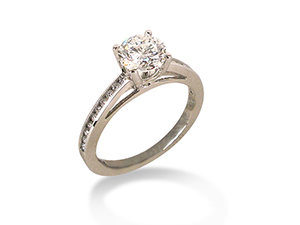 Alson Signature Collection Platinum Milgrain Engagement Ring, Featuring a 1.05ct Round Diamond, SI2 Clarity, I Color, Accented with 20 Round Diamonds =.20ctw