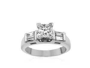 Alson Signature Collection 14K White Gold Engagement Ring, Featuring a .50ct Princess Cut Diamond, SI2 Clarity, I Color, Accented with 4 Baguette Diamonds =.50ctw