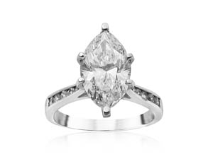 Alson Signature Collection Platinum Engagement Ring, Featuring a 2.63ct Marquise Diamond, SI2 Clarity, I Color, GIA Certified, Accented with 12 Round Diamonds =.20ctw