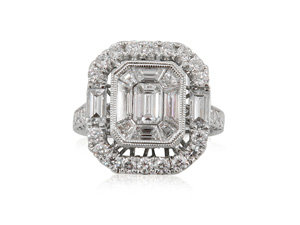 Alson Signature Collection Mosaic Center Engagement Ring, Fashioned in 18K White Gold, Featuring One Hundred Round Diamonds =1.13cts Total Weight, Two Baguette Diamonds =.32cts Total Weight, Eight Trapezoid Diamonds =.89cts Total Weight and One Emerald Cut Diamond =.34cts Total Weight