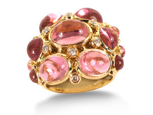 Alson Estate Collection, this 18K Yellow Gold Temple St. Clair Ring Features Pink Tourmaline and Diamonds