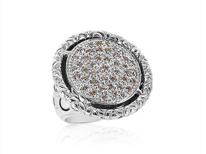Alson Special Value John Hardy Silver Naga Ring, Featuring a Large Round Pave Diamond Center, Diamonds =.65cts Total Weight