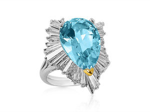 Alson Estate Collection Platinum Ring Features a Pear Shape Blue Topaz = 6.52 Carats Surrounded by Twenty Five Tapered Baguette Diamonds = 3.00 Carats Total Weight