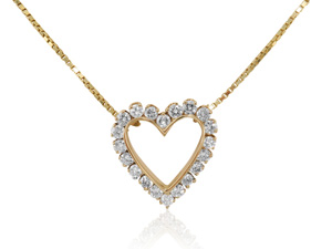 Alson Special Value 14K Yellow Gold Diamond Heart Necklace, Featuring 20 Round Diamonds =1.50cts Total Weight