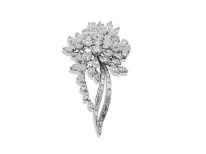 Alson Estate Collection Platinum Diamond Flower Pin, Featuring 27 Baguette Diamonds, 24 Marquise Diamonds, 13 Pear Shaped Diamonds and 3 Round Diamonds =13.92cts Total Weight, VS1 Clarity, F-G Color