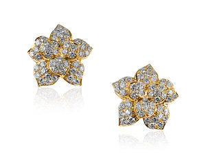 Alson Estate Collection 18K Yellow Gold Flower Shaped Earrings, Featuring Ninety-Six Round Diamonds =3.75cts Total Weight, VS2 Clarity, G Color