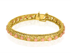Alson Estate Collection 18K Yellow Gold Ladies Coral Bracelet, Featuring 28 Round Coral, Measuring 3.5MM Each