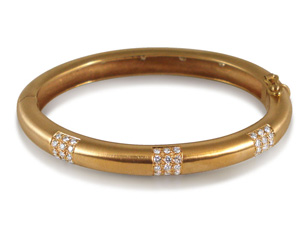 Alson Estate Collection 14K Yellow Gold Diamond Bangle Bracelet, Features Seven Round Diamonds = .70 Cts. and Forty Five Round Diamonds = 1.35 Cts, Total Diamond Weight = 2.05 Cts.