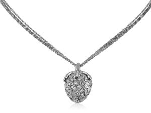 Alson Estate Collection Strawberry Diamond Necklace, Fashioned in 18K White Gold, Featuring 103 Round Pave Set Diamonds =2.00cts Total Weight, on a Three-Strand Rolo Chain