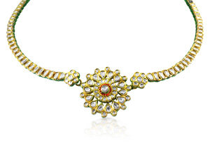 Alson Estate Collection 21K & 18K Yellow Gold Red and Green Enamel Necklace, Featuring 115 Round Uncut Diamonds =13.00cts Total Weight