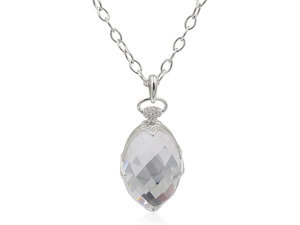 Monica Rich Kosann Silver Locket Necklace, Featuring Rock Crystal with White Sapphire Accents, on a 30