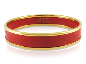 Halcyon Days 14MM 18K Yellow Gold Plated with Red Enamel Bangle Bracelet
