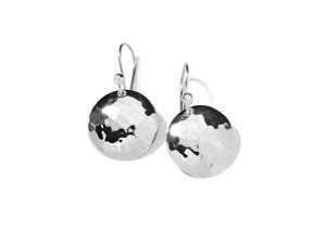 Ippolita Silver Classico Hammered Domed Disc .02ctw Diamond Wire Earrings