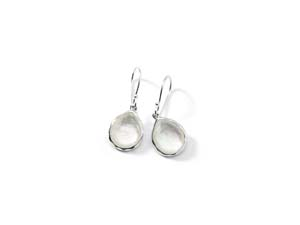 Ippolita Silver Rock Candy Mini Teardrop Earrings, Featuring Clear Quartz over Mother of Pearl Doublets