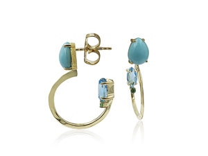 Ippolita 18K Yellow Gold Prisma Blue Topaz & Turquoise Hoop Earrings