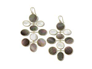 Ippolita 18K Yellow Gold Rock Candy Sabbia Large Mobile Oval Earrings, Featuring Mother of Pearl, Brown Shell and Black Shell