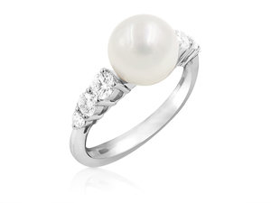 Mikimoto 18K White Gold Pearl & Diamond Ring, Featuring an 8-8.5MM A+ Quality Akoya Cultured Pearl, Accented with 6 Round Diamonds =.31cts Total Weight