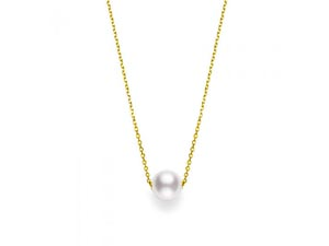 """Mikimoto 18K Yellow Gold 18"""" 8MM Pearl Station Necklace"""