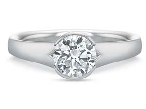 Precision Set 18K White Gold Tapered Shank Half Bezel Set Solitaire Engagement Ring, Center Stone Sold Separately