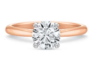 Precision Set 18K Rose Gold with Platinum Head New Aire 2.3MM Solitaire Engagement Ring, Center Stone Sold Separately