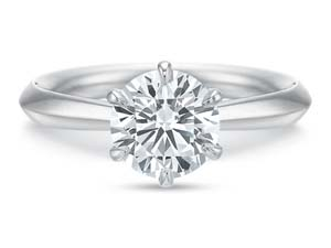 Precision Set 18K White Gold Classic Six-Prong Solitaire Engagement Ring, Center Stone Sold Separately