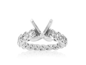 JB Star Platinum Diamond Shared Prong Engagement Ring, Featuring 14 Round Diamonds =2.72cts Total Weight, Center Stone Sold Separately