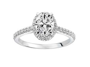 ArtCarved 14K White Gold Oval Halo Engagement Ring, Featuring 33 Round Diamonds =.33ctw Total Weight, Center Stone Sold Separately