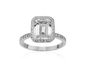 Bez Ambar 18K White Gold Diamond Halo Engagement Ring, 82 Round Diamonds =.45cts Total Weight, Center Diamond Sold Separately