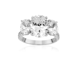 Bez Ambar Three Stone Engagement Ring, Fashioned in 18K White Gold, Featuring 126 Round Diamonds =.56cts Total Weight, Center Three Oval Stones Sold Separately